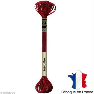 Fil à broder DMC mouliné Effet lumière - Effet bijoux Rouge cerise E815 - Echevette 8 m
