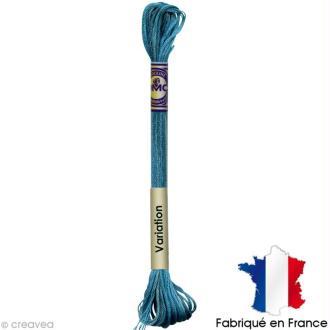 Fil à broder DMC mouliné Color variation 4025 Bleu lagon - Echevette 8 m