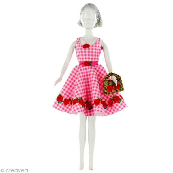 Patron Dress your doll - Niveau 3 - Peggy roses - Photo n°1