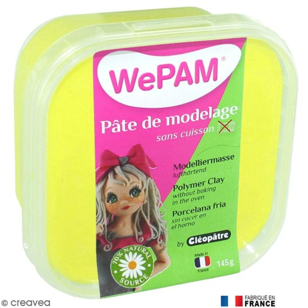 Porcelaine froide à modeler WePAM Jaune fluo 145 g - Photo n°1