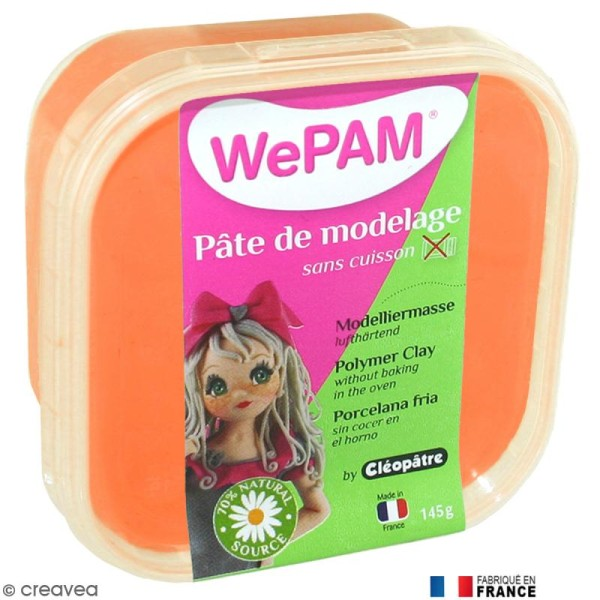 Porcelaine froide à modeler WePAM Orange fluo 145 g - Photo n°1