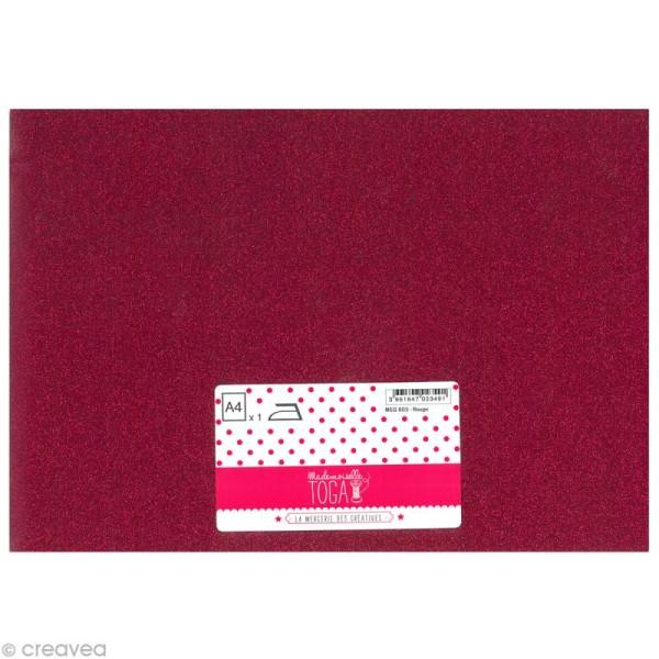 Flex thermocollant pailleté A4 - Rouge - Photo n°1