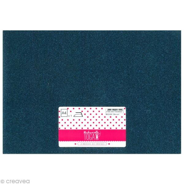 Flex thermocollant pailleté A4 - Bleu nuit - Photo n°1
