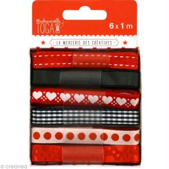 Ruban Mademoiselle Toga - Assortiment Rouge / gris 1 m x 6