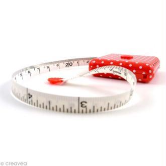 Mètre ruban rose à pois blancs 150 cm