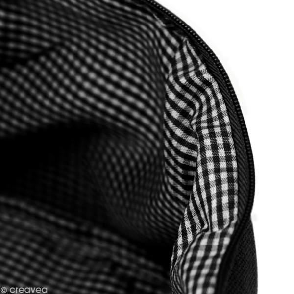 Trousse à soufflet en tissu 17,5 cm Noir - Photo n°2