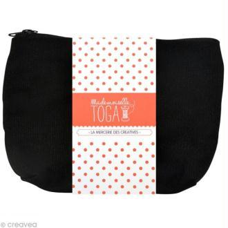 Trousse à soufflet en tissu 26 cm Noir