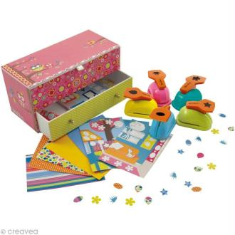 Coffret perforatrice scrapbooking - 5 perfos Chouette Téo & Zina
