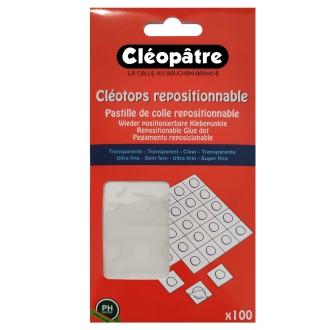 Pastille adhésive transparente Cléotops repositionnable - 80 pastilles de 8 mm
