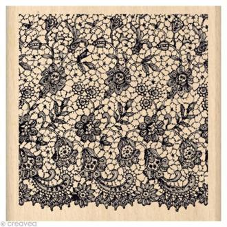 Tampon Un brin vintage - Carré dentelle 8 x 8 cm