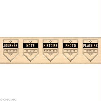 Tampon étiquette - Border line - 5 fanions 4 x 15 cm