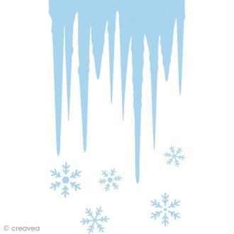 Pochoir pour fenêtre de Noël - Glaçons - A4