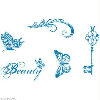 Pochoir MyStyle pour textile Vintage beauty 21 x 14,8 cm