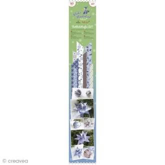 Bande de papier décoratif Winter wonderland - Bleu / blanc x 90