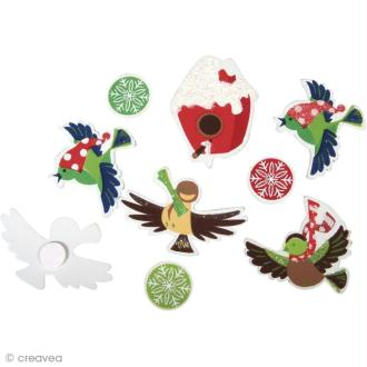 Miniature en bois Noël - Winter wonderland - Oiseaux d'hiver x 12