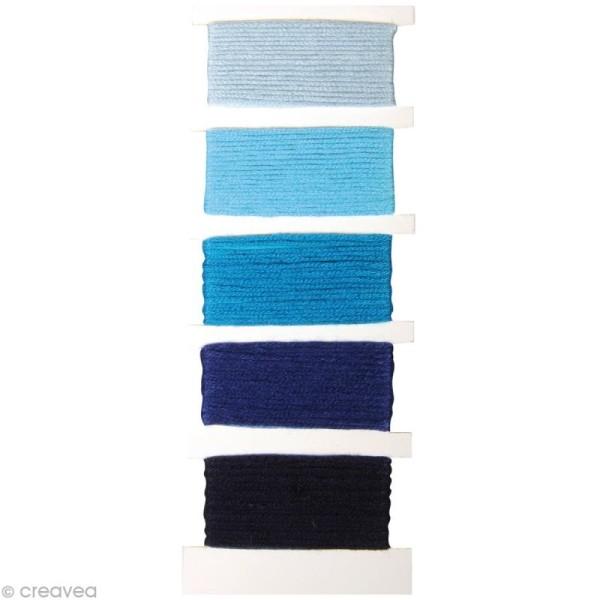 Fil Stitch & knot Bleu pur pour bracelet brésilien - 5 x 10 m - Photo n°1