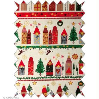Coupon tissu Moments of happiness - Christmas village - Paysage de Noël 50 x 100 cm