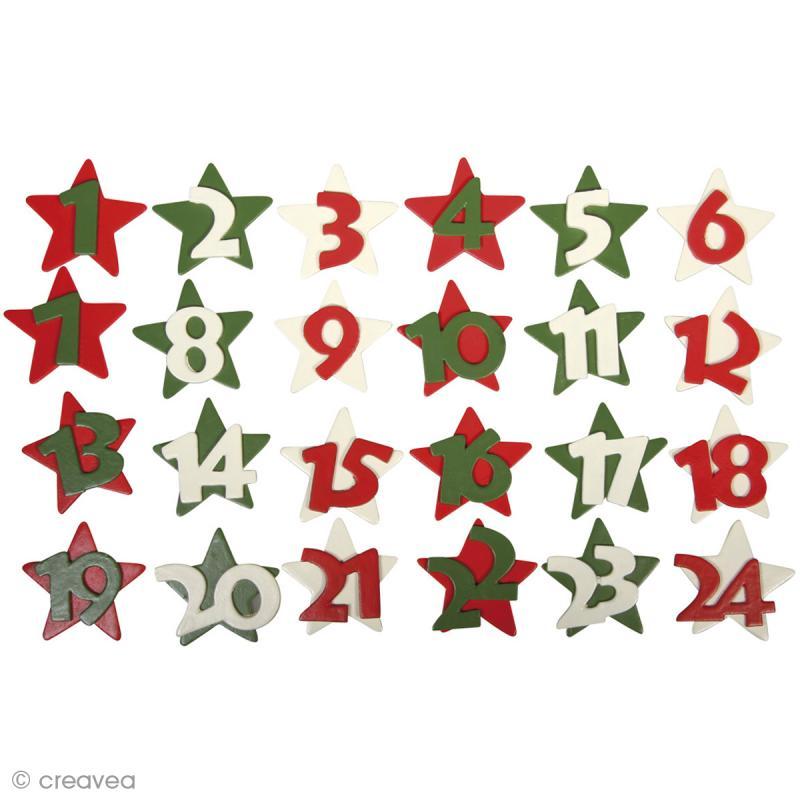 Etoiles en bois calendrier de l 39 avent christmas feeling x 24 calendrier de l 39 avent creavea - Support calendrier de l avent ...