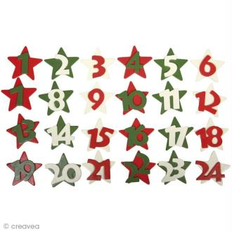 Etoiles en bois - Calendrier de l'Avent Christmas feeling x 24