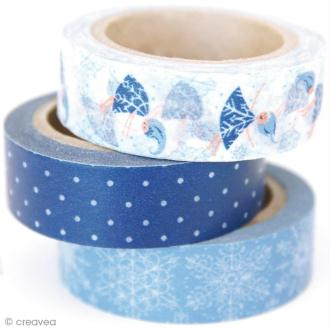 Washi tape Winter wonderland - Flocons de neige 15 mm x 10 m - 3 rouleaux