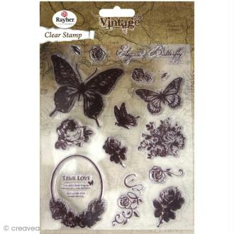 Tampon transparent Rayher - Vintage Butterfly x 15