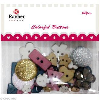 Assortiment de boutons Rayher - Mélange varié x 42