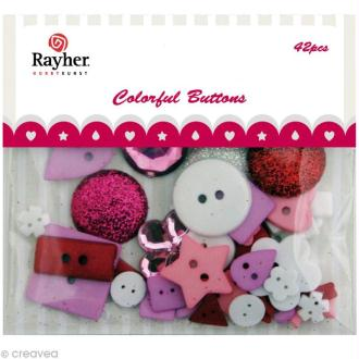Assortiment de boutons Rayher - Mélange rose / blanc / rouge x 42
