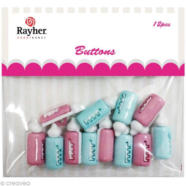 Assortiment de boutons Rayher - Biberon x 12 - Photo n°1