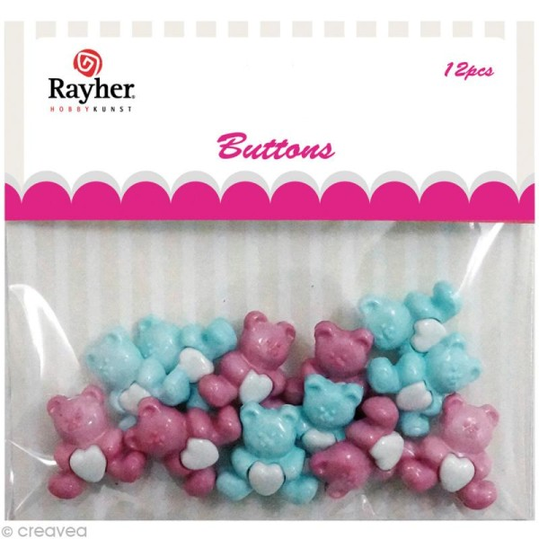 Assortiment de boutons Rayher - Nounours x 12 - Photo n°1