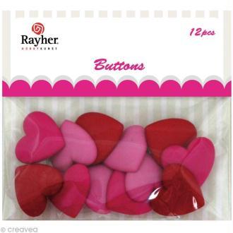 Assortiment de boutons Rayher - Coeurs x 12