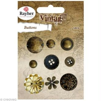 Assortiment de boutons Rayher - Vintage or x 9