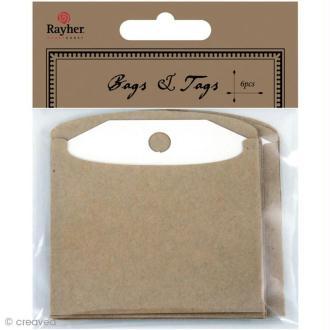 Etiquette et enveloppe kraft 7,5 x 7,5 cm - 6 pièces