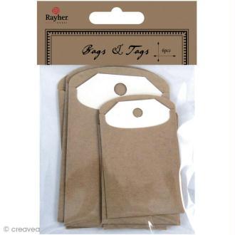 Etiquette et enveloppe kraft 4,7 cm et 6,3 cm - 6 pièces