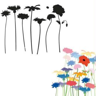 Pochoir fleurs des champs 13 x 10 cm