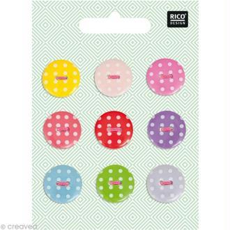 Boutons Plastique - Pois 1,8 cm - 9 pcs