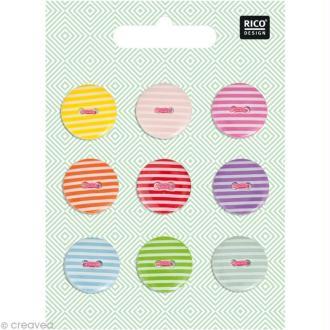 Boutons Plastique - Rayures 1,8 cm - 9 pcs