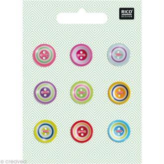 Boutons Plastique - Multicolores 1,8 cm - 9 pcs