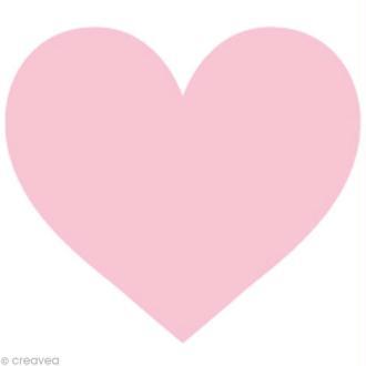 Appliqué Coeur Rose en feutrine - 4,5 x 6 cm