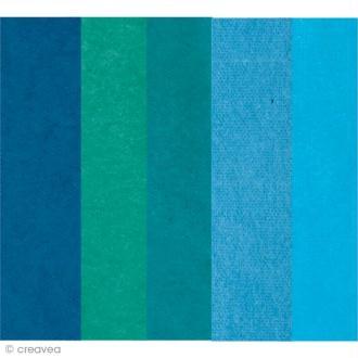 Papier de soie assortiment Bleu - Paper Poetry 50 x 70 cm - 5 feuilles