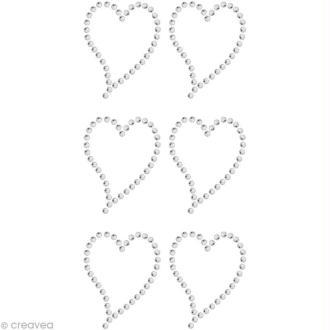 Strass à coller motif Grand coeur Cristal 3,2 x 2,5 cm x 6