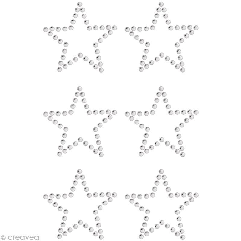 Strass à coller motif Etoile Cristal 2,9 x 2,9 cm x 6 - Photo n°1