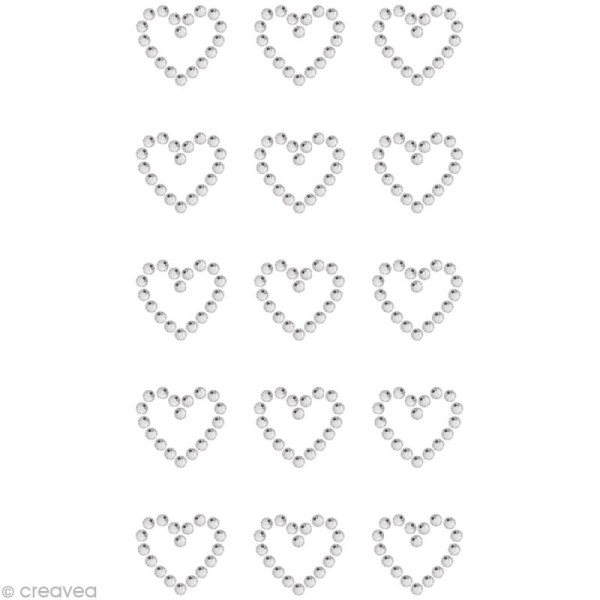 Strass à coller motif Coeur Cristal 1,7 x 1,5 cm x 15 - Photo n°1