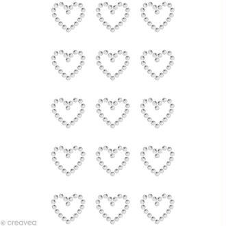 Strass à coller motif Coeur Cristal 1,7 x 1,5 cm x 15