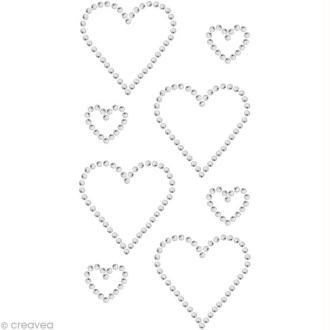 Strass à coller motif Double coeur Cristal 3 x 3 cm et 1,7 x 1,5 cm x 8