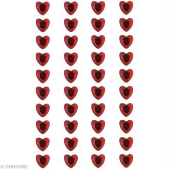 Coeur en strass à coller 8 mm Rouge x 40