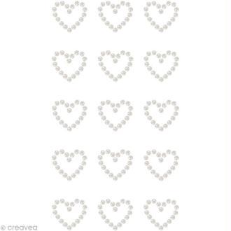 Perles à coller motif Coeur 1,7 x 1,5 cm x 15