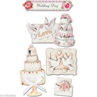 Sticker 3D Mariage - Mariage & gâteau x 5