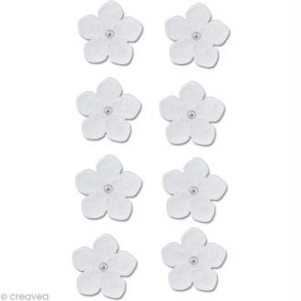 Autocollant feutrine Fleur - Pensées blanches x 8