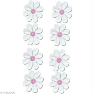 Autocollant feutrine Fleur - Pâquerettes blanches x 8