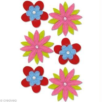 Autocollant feutrine Fleur - Assortiment de fleurs x 6